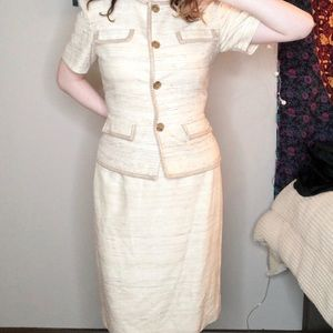 VINTAGE Tan wool jacket and skirt. Adrianna Papell